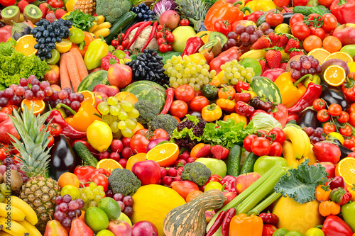 Bright background for backdrop healthy fruits and vegetables.