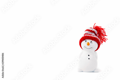 Fotografie, Obraz Happy snowman standing isolated on white background