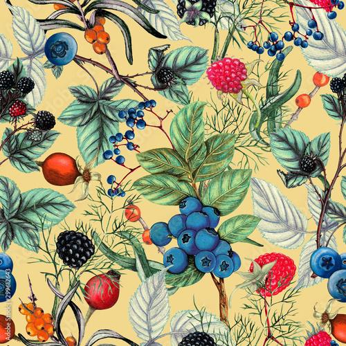 botaniczny-wzor-recznie-rysowane-jagody-jesien-wzor