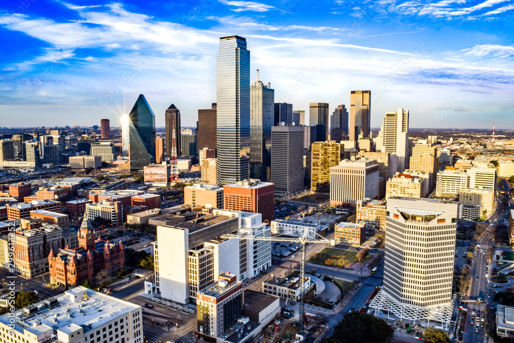 Fototapety, obrazy: Aerial View of Downtown Dallas on a Summer Afternoon - Dallas, Texas, USA