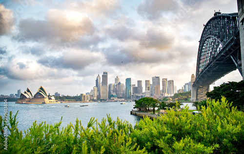 Wide Shot of Sydney Skyline, Milsons Point, Waterfront, Harbour, Sydney Harbour Wallpaper Mural