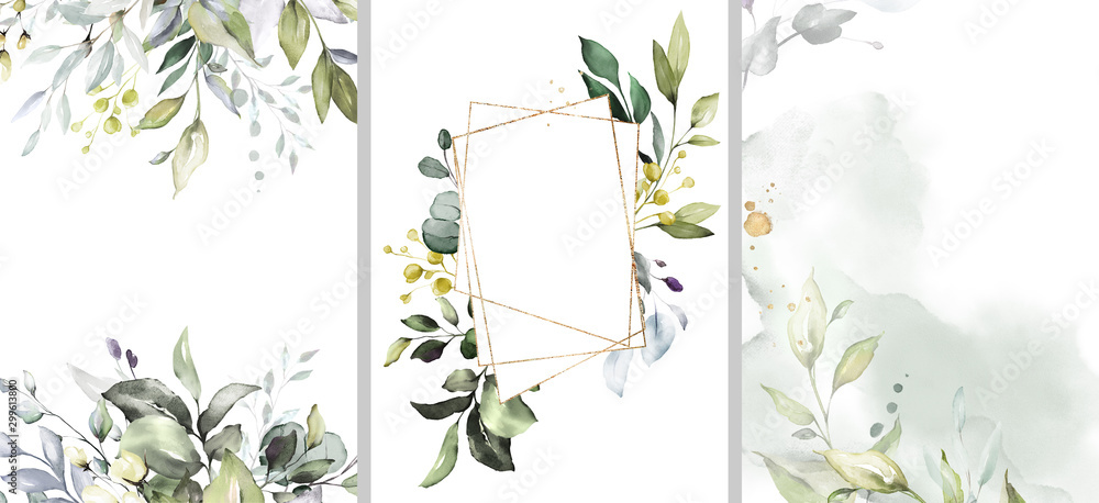Fototapeta Ready to use Card. Herbal Watercolor invitation design with leaves. flower and watercolor background. floral elements, botanic watercolor illustration. Template for wedding.   frame