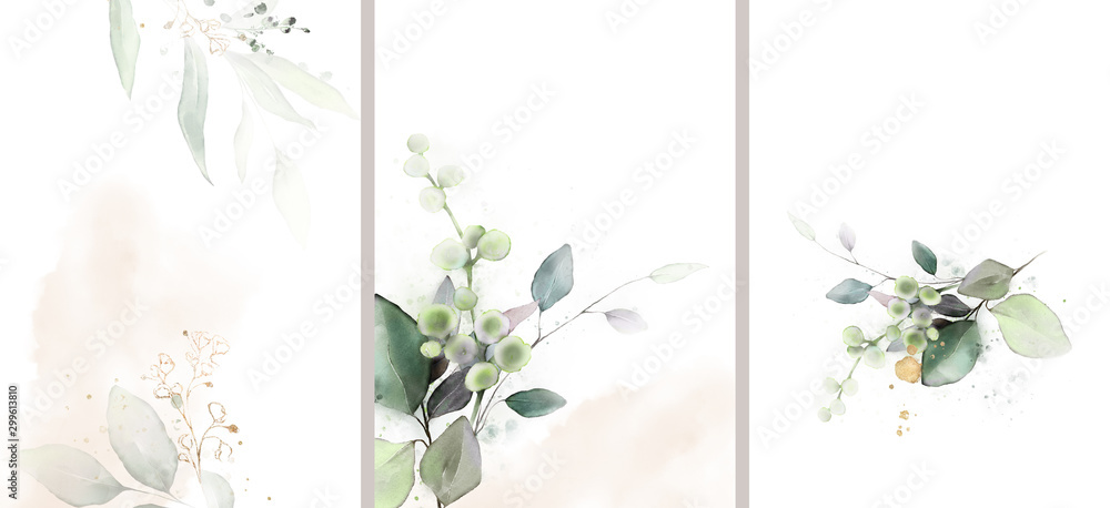 Fototapety, obrazy: Ready to use Card. Herbal Watercolor invitation design with leaves. watercolor background. floral elements, botanic watercolor illustration. Template for wedding.   frame