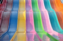 A Colourful Vintage Midway Slide Ride Creates A Bold Abstract Composition.