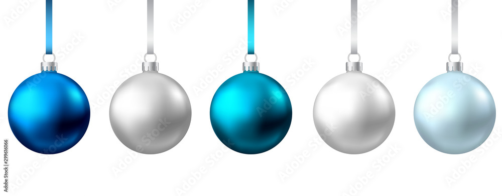 Fototapeta Realistic  blue, silver  Christmas  balls  isolated on white background.
