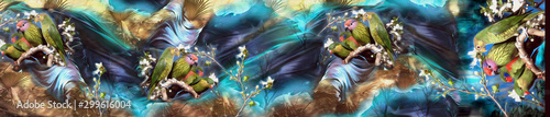 Digital Textile Saree Design Illustration 19 - 299616004