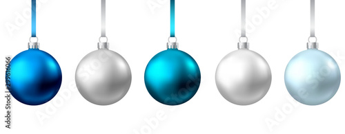 Obraz Realistic  blue, silver  Christmas  balls  isolated on white background. - fototapety do salonu