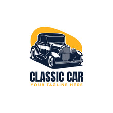 Hot Rod Classic Car Logo, Vect...