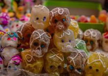 Sugar Skulls Made Of Sugar, Are Typical Sweets During The Time Of October And November For The Day Of The Dead In Mexico