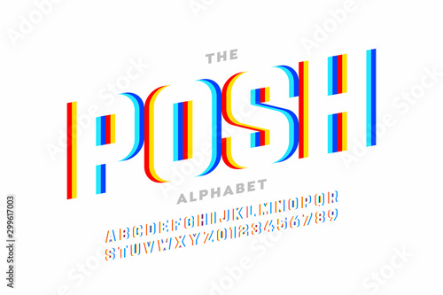 Foto Modern font design, vibrant alphabet, letters and numbers