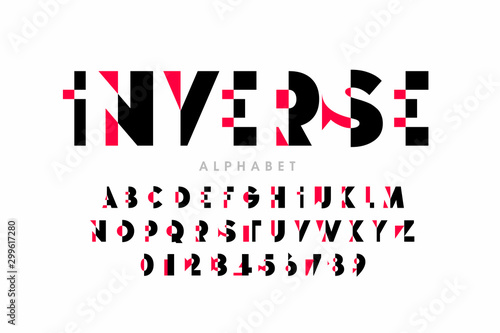 Obraz Inverse style modern font, alphabet letters and numbers, - fototapety do salonu