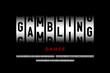 Slot machine style modern font, gambling game alphabet, letters and numbers