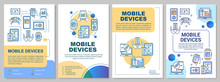 Mobile Devices Brochure Template. Wireless Technology. Flyer, Booklet, Leaflet Print, Cover Design, Linear Illustrations. Vector Page Layouts For Magazines, Annual Reports, Advertising Posters