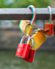 Locks On Metal Bridge Railing ...