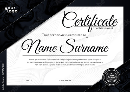 Luxury Certificate Design Template in Black Background Canvas Print