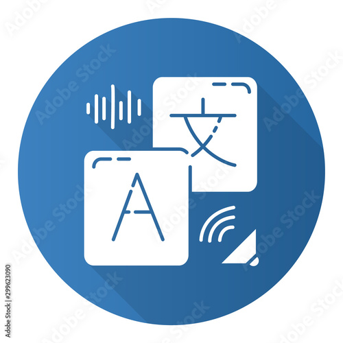 Translation services flat design long shadow glyph icon Fototapet