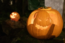 Spooky Halloween Pumpkin, Jack O Lantern, Oogie Boogie From The Nightmare Before Christmas, With Burning Candles