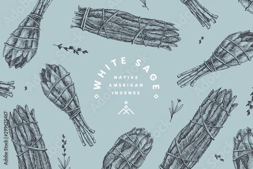 Fototapeta Hand-drawn bandage bundles of white sage