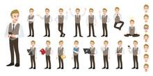 Businessman Cartoon Character Set. Handsome Business Man In Office Style Smart Shirt . Vector Illustration