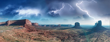 Amazing Aerial View Of Monument Valley In The Colorado Plateau With Storm Approaching, United States
