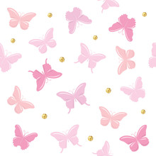 Butterflies With Glitter Polka...