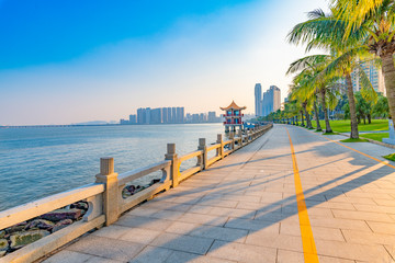 Coastal view of the South Road of couples in Zhuhai City, Guangdong Province