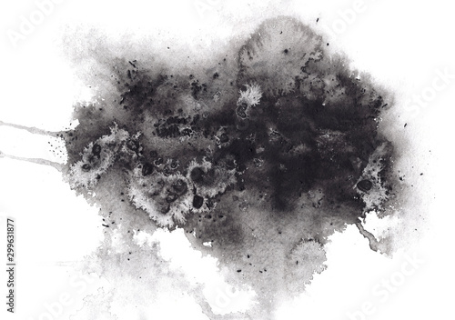Fotografie, Obraz  Abstract expressive textured black ink or watercolor stain