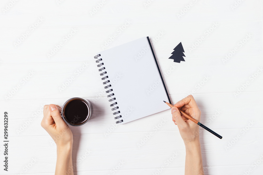 Fototapety, obrazy: Flat lay woman's hands writing blank paper notebook
