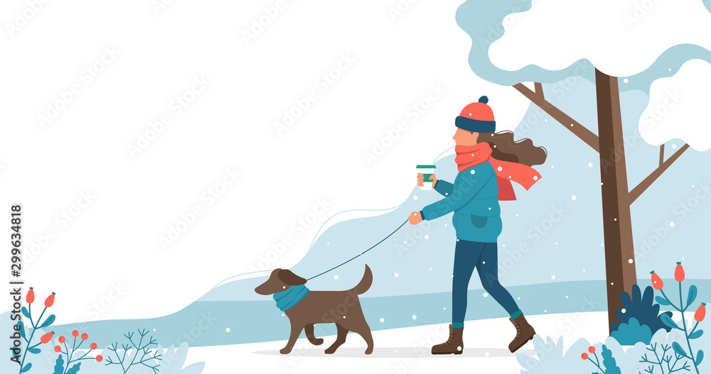 Fototapeta Woman walking the dog in winter. Cute vector illustration in flat style.