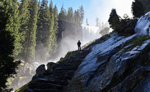 Silhouette Of A Man Watching Vernal Falls In Yosemite National Park, California, USA.