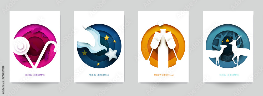 Fototapety, obrazy: Set background for covers, invitations, posters, banners, flyers, placards. Minimal template design for branding, advertising with winter christmas composition in paper cut style. Vector illustration.