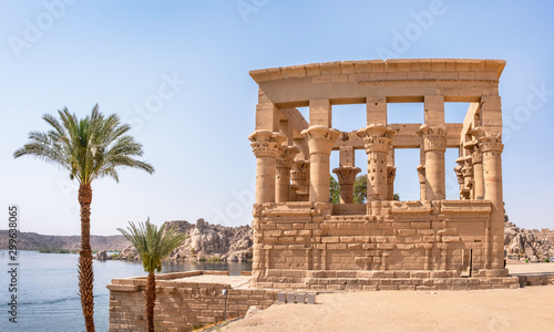 Trajan kiosk at Philae Temple near Aswan (also called the Temple of Isis) overlo Wallpaper Mural