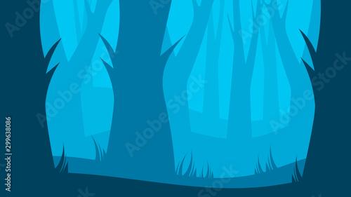 Foto auf AluDibond Blau Natural Landscape Cartoon Background Illustration Dense Forest