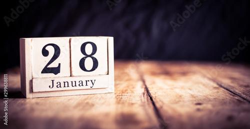 Obraz na plátne  January 28th, 28 January, Twenty Eighth of January, calendar month - date or ann