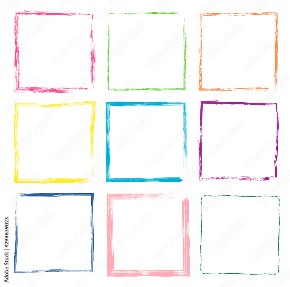 Fototapeta Colorful hand drawn vector set with cute grunge square frames and borders for kids products