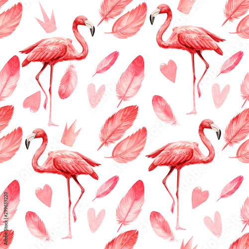 Spoed Foto op Canvas Flamingo seamless pattern an isolated white background, watercolor illustration, painting cute pink flamingo birds, feathers, heart, crown