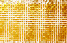 Wall And Floor Gold Yellow Mosaic Tiles Texture