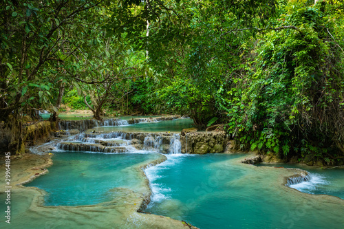 Fototapety, obrazy: Turquoise water of Kuang Si waterfall, Luang Prabang, Laos. Tropical rainforest. The beauty of nature.