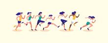 Women Running Vector Design