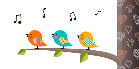 Singing Birds on a branch.