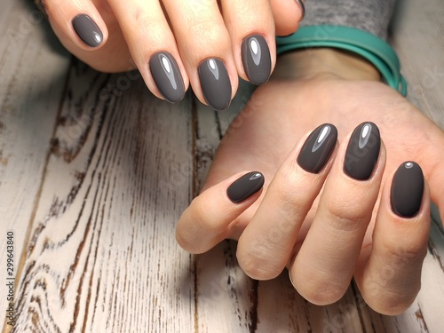 Fashionable design of manicure on beautiful pens