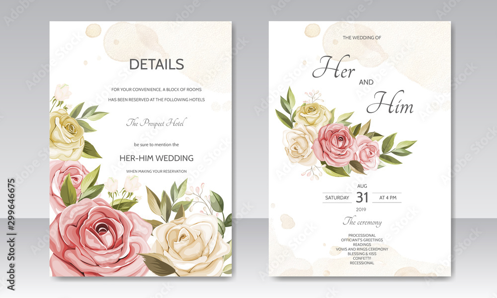 Fototapety, obrazy: beautiful floral wreath wedding invitation card template