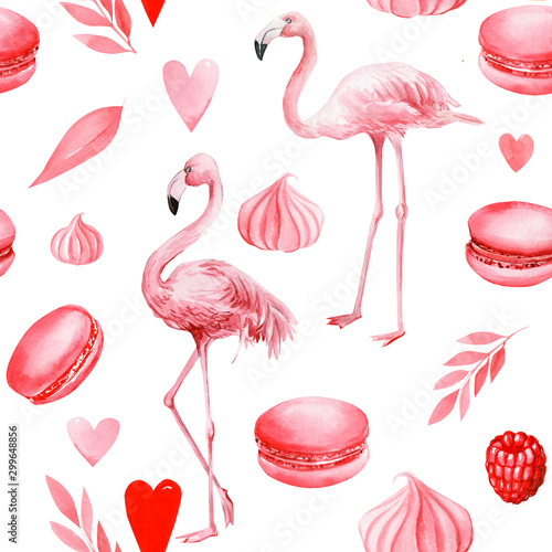 Spoed Foto op Canvas Flamingo seamless pattern of cakes, hearts, leaves, meringues, macaroni, pink flamingo on an isolated white background, watercolor illustration