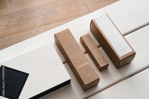 Obraz na plátně Craft paper cosmetic boxes, packaging mockup