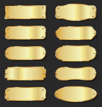 Golden Metal Plates Collection On Black Background