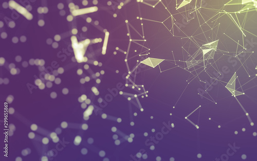 Abstract background. Molecules technology with polygonal shapes, connecting dots and lines. Connection structure. Big data visualization. - 299655869
