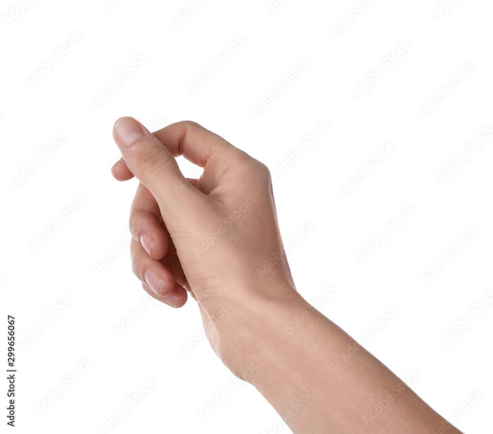Fototapeta Woman holding something on white background, closeup of hand