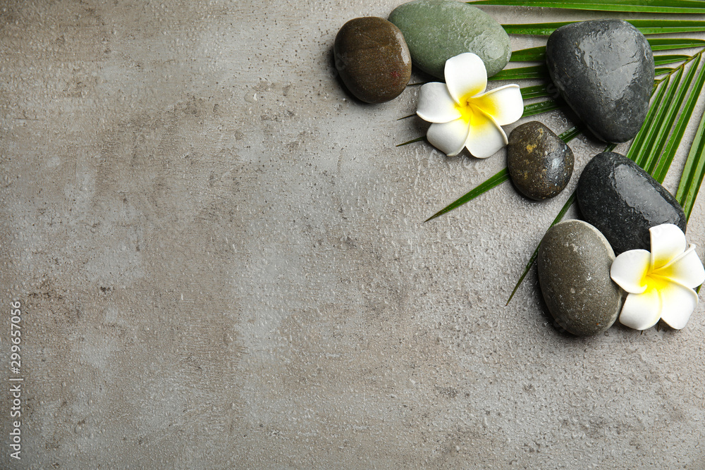 Fototapety, obrazy: Flat lay composition with stones on grey background, space for text. Zen concept