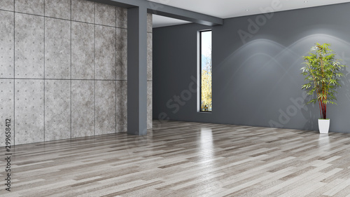 Obraz Idea of a white empty scandinavian room interior illustration 3D rendering with wooden floor and large wall and white. Background interior. Home nordic - fototapety do salonu