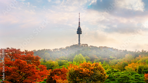 Autocollant pour porte Seoul Seoul Tower in Autumn South Korea